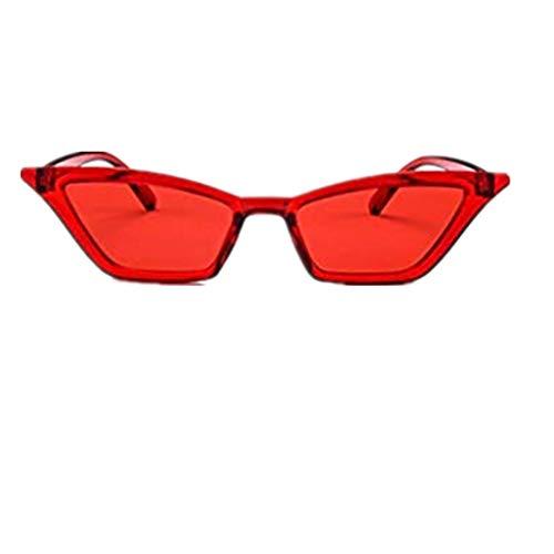 WooCo Retro Clout Brille für Damen und Herren, Räumungsverkauf Fashion Frame Flat Mirror Brillengestell Acht Farbe Schmale Brillenfassungen(Rot,One size)