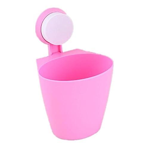 FYN® Mülleimer Wand hängen Lagerfässer Regal Sucker Hängen Mülleimer Küche Badezimmer Kunststoff Trümmer Eimer (3 geladen) pink