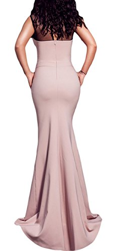 Abito lungo da sera vestito sirena elegante senza maniche chiusura cerniera Rosa