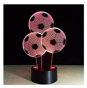 Neue 3D Fußball Ballon Night Licht Touch Tisch Schreibtisch Lampen 7Farbwechsel Illusion Leuchten mit Acryl Flach ABS Boden USB-Ladegerät für Weihnachten...