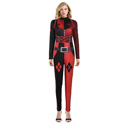 dPois Damen Kostüm Wetlook 3D Jumpsuit Overall Bodysuit Frauen Catsuit Catwomen Ganzkörper Anzug Kostüm für Halloween Party Rollenspiel Cosplay Schwarz&Rot Small/Medium