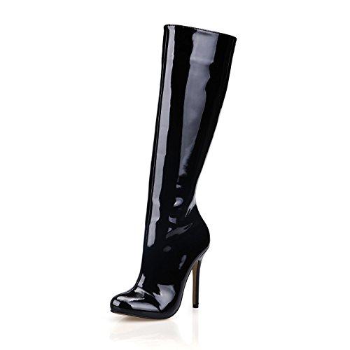 La nuova cerniera laterale verniciato nero in pelle tacco alto ladies boot OL minimalista alta e stivali Black