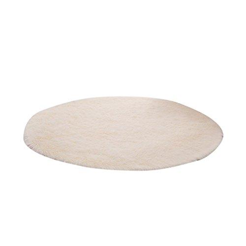 LvRao Zuhause Runden Teppich Dick Große Matten Multi Größen Zimmer Shaggy Flaumig Fußmatten Beige Gelb Diameter: 160cm Super