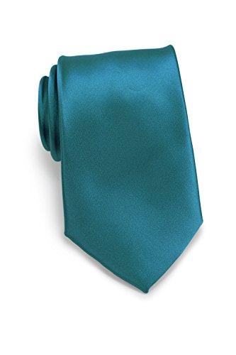 PUCCINI Krawatte Herren, Einfarbig, 39 verschiedene Farben, Satin-Glanz, Mikrofaser, 8,5 cm, Handarbeit, Hochzeit – Alltag – Büro (Petrol)