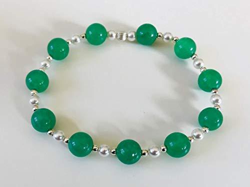 Perlenarmband Esja - mit grünem Aventurin und weißen SWAROVSKI® ELEMENTS Perlen