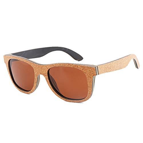 Lxc UV400 Brown Cork Sonnenbrillen Sonnenbrillen Herren TAC Lens Polarized Zeige Temperament