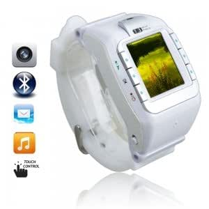 """N388 1.3"""" Touch Screen Tri-Band Camera Bluetooth Watch Cell Phone White"""