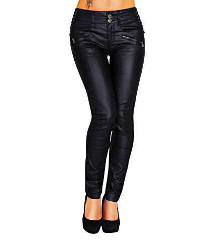 Damen Bootcut Hose Leder-Optik Skinny (428), Grösse:38, Farbe:Schwarz