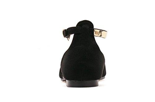 Chaussures d'été à talon plat de daim métal pointu sequin ceinture boucle plate sandales femmes Black