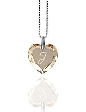 Kristallwerk, Damen Kette 925 Silber mit SWAROVSKI ELEMENTS Herz und Buchstabengravur