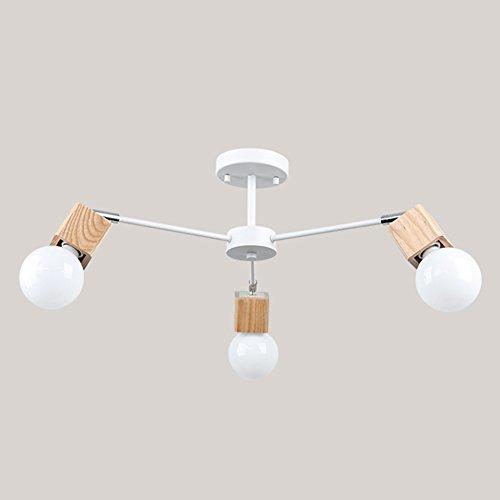 LOFT Modern plafón Elegant Fácil techo lámpara blanco y negro metal Madera nórdico creativo personalidad E27× 3Decoración Salón comedor dormitorio (No contiene fuente de luz)