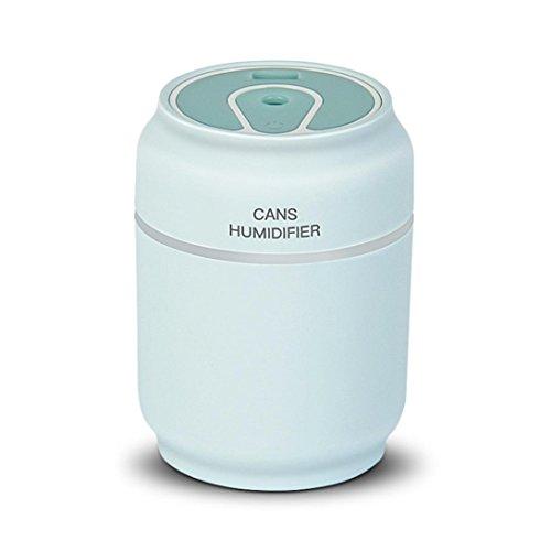 Difusor de Aceites Esenciales,STRIR 200ml 3 en 1 USB LED Ultrasonic Air Cans Humidificador Essential Aroma Difusor de aceite Atomizer + Fan (Azul)