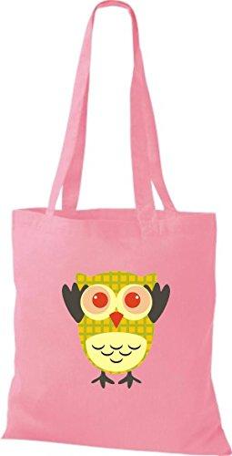 ShirtInStyle Jute Stoffbeutel Bunte Eule niedliche Tragetasche mit Punkte Karos streifen Owl Retro diverse Farbe, natur rosa