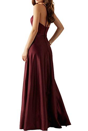 Missdressy Elegant Romantisch A-Linie Lang Neckholder Satin Abendkleider Brautmutterkleider Blau