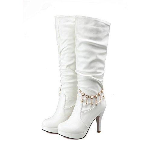 AllhqFashion Damen Rein PU Leder Hoher Absatz Ziehen auf Rund Zehe Stiefel, Weiß, 42