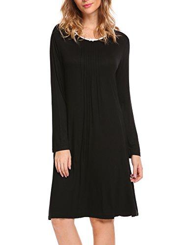 HOTOUCH Damen Nachthemd Nightdress Mit Langen Raglanärmeln Schwarz A Linie XL (Linie Ärmel Lange Feine)