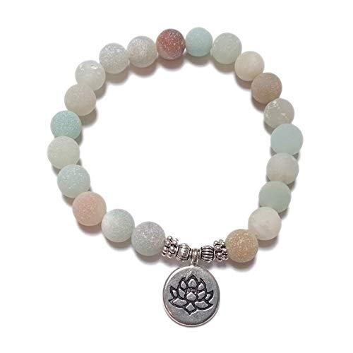 Bracciale yoga – gioielli da meditazione by style4 nature con buddha, albero della vita, om o lotus, ciondolo delle energie mala naturstein - collana da uomo e donna in amazzonite