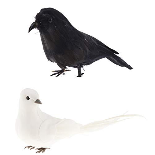 B Blesiya Weiß und Schwarz Künstliche Kunstvogel Vogel Krähe mit Federn Figuren Dekovogel Gartenfigur