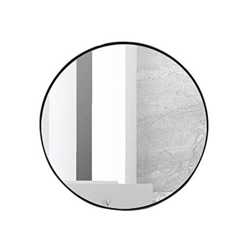 LH-Spiegel Runde Wand Badezimmer Spiegel Hängenden Spiegel | Wandmontierter Schminkspiegel | Kreis-Schminkspiegel | Schwarzer Metall-Eisen-Rahmen (größe : 60cm)