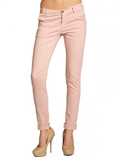 CASPAR KHS037 Damen Baumwoll Chino Hose Skinny Fit, Farbe:rosa;Größe:40 L UK12 US10 (Rosa Stretch-jeans)