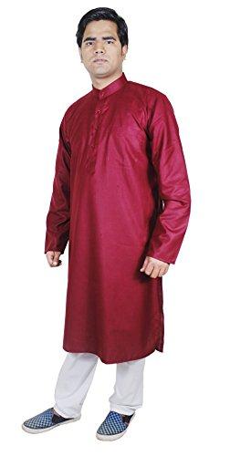 indiano abbigliamento - collare lungo kurta tunica maschile - serie camicia marrone mutanda solida - l