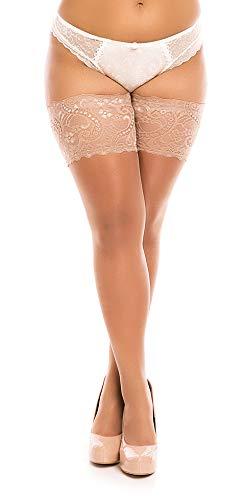 BIGGI BIG Lace 40 halterlos Strümpfe Große Größen-make up-54-56 - Plus Size Halterlose Strümpfe Strumpfhose