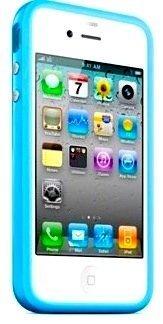 MobileConnect4U - Bumper in silicone per iPhone 4/4S, con pulsanti cromati bianco blu