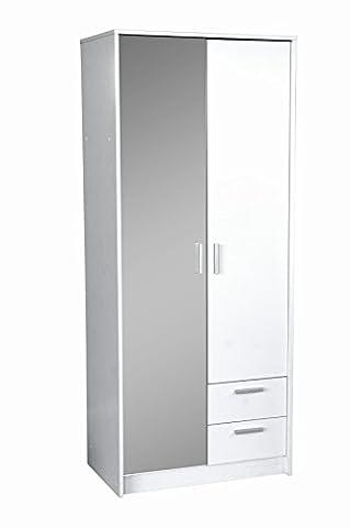 Direct Furniture Urban 2 Door Plus 2 Drawer Combination Mirrored Wardrobe, MDF/Chipboard, White Gloss/Oak