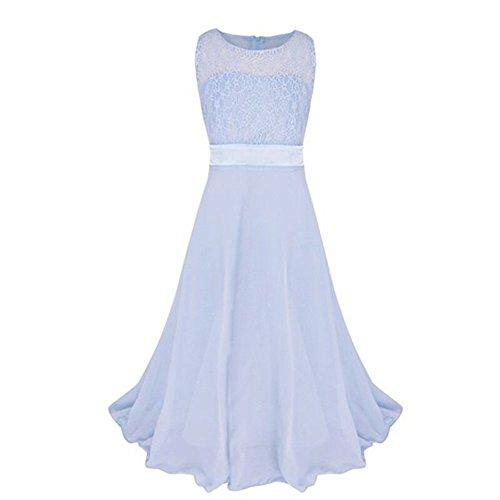 LSERVER-Festliches Mädchen Kleider Lange Brautjungfern Kleider Festlich Hochzeit Party Prinzessin Kleid Blumenmädchen Festzug- Gr. 130 (für Höhe = 51.2 inch), Himmelblau