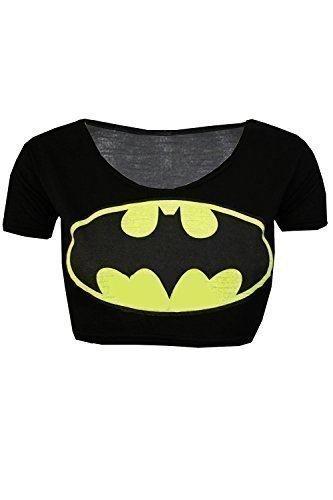 Women's Ladies Short Sleeve Superman Batman Crop Top