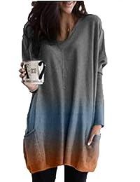 OtoñO Temperamento Ropa De Mujer Camisa Estampada con TeñIdo Anudado Camisa Casual De Manga Larga