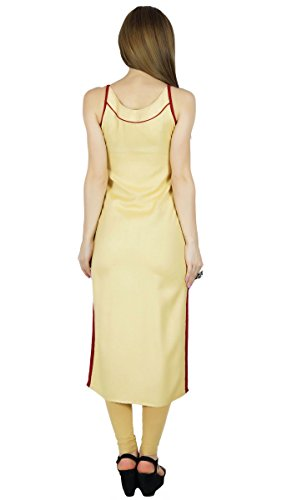 Bimba Beige long Tunique Fancy manches Kurti Summer Wear Chic Blouse Gift Beige