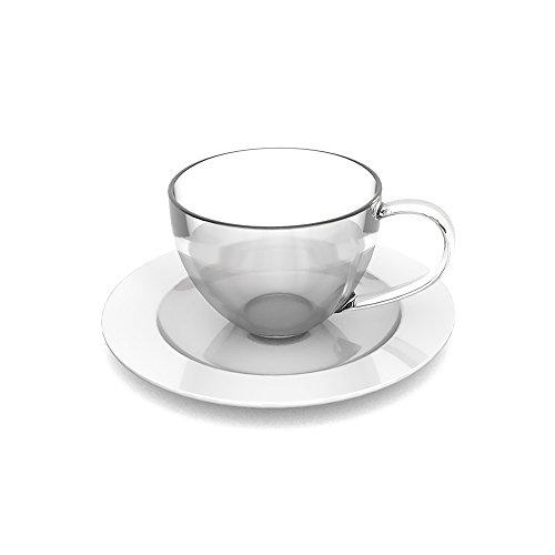 Ornamin Kaffeetasse mit Untertassen Set (Modell 1231 + 1202) / Mehrweg-Becher Kunststoff, Kaffeetasse, Teetasse Set