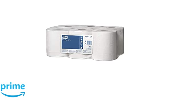 Tork 473414 Multipurpose Wiping Paper Towels//Paper Rolls Suitable for M2 Centrefeed System Big Dispensers//White 6 x 150.7m /Ø 18cm