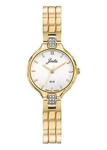 Joalia H630M606 - Orologio da donna con cinturino in metallo dorato, quadrante bianco, pietre bianche