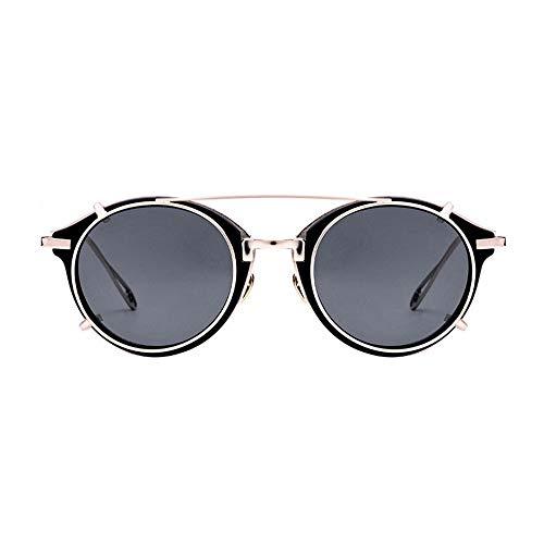 Yiph-Sunglass Sonnenbrillen Mode Steampunk Style Round Vintage Polarized Sonnenbrillen Retro Eyewear UV400 Schutz Matel Frame Abnehmbare Sonnenbrille (Farbe : Gold Frame Gray, Größe : Free)