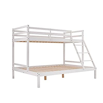 Storeinuk 3 Sleeper White Pine Wooden Triple Bunk Bed Frame Double&Single Bed for Kids Children Adult