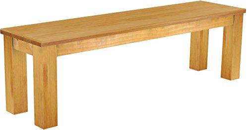 Brasilmoebel® Sitzbank Rio Classico 150 x 38 x 44 cm - Pinie Massivholz Honig - in allen Größen und Farben - tausende Varianten - Echtholz mit durchgehend massiven Platten - Pinienmöbel aus nachhaltiger Forstwirtschaft - Esszimmermöbel massiv geölt - Wohnzimmer Esszimmer Küche Büromöbel Büro Gastro Gastronomie Restraurant