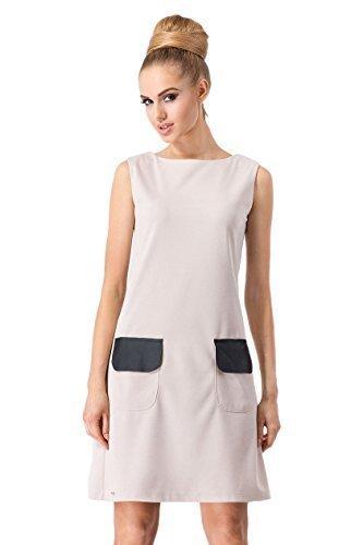 Futuro Fashion Damen Minikleid elegant mit Taschen ärmellos A-Linie FA376 Beige