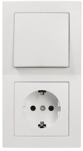 MC POWER Flair - Wand Steckdosen und Schalter Set mit Kindersicherung | Tür 2-fach | 3-teilig | weiß, matt