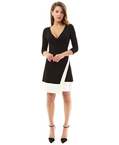 PattyBoutik femmes robe bicolore mi-longue à col V de manches 3/4 noir et ivoire