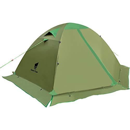 GEERTOP Zelt Kuppelzelt Campingzelt Familienzelt Trekkingzelt Aluminiumstangen Wasserdichten - 140 x 210 x 115 cm (2,59kg) - Zwei Personen 4 Jahreszeiten Ideal für Camping Wandern Reisen und Klettern