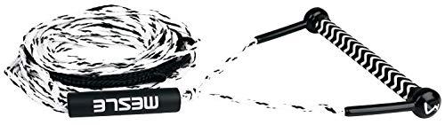 MESLE Wasserski & Wakeboard Leine Combo S, schwimmfähig, Eva Soft Griff, Länge 16,8 m - 19,8 m, schwimmend, Zug-Seil Wassersport Schleppleine, schwarz-weiß