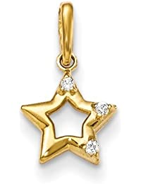 ICE CARATS 14k Yellow Gold Cubic Zirconia Cz Childrens Star Pendant Charm Necklace Kid Celestial Fine Jewelry Gift Valentine Day Set For Women Heart