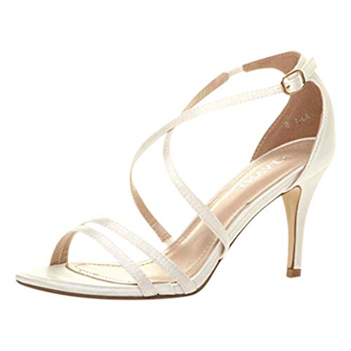 Dorical Damen Stiletto High Heel Sandalen,Frauen High Heel Riemchen Party Hochzeit Prom Sandalen Knöchel Schnalle Schuhe 35-43 EU Reduziert(Weiß,40 EU) (Weiße Kniehohe Go-go-stiefel)