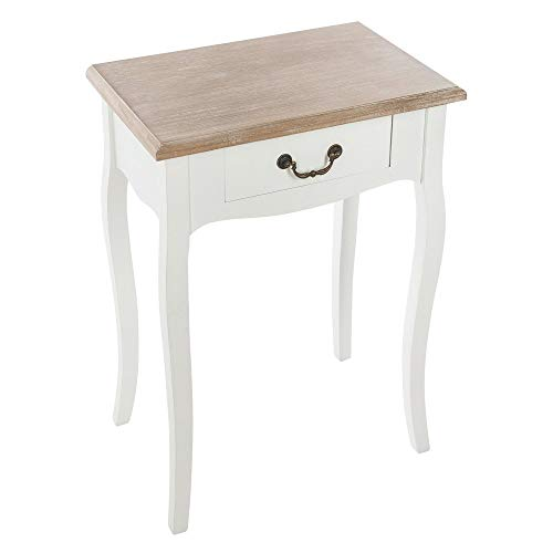 AC-Déco Table de Chevet - Chrysa - L 47 x l 30 x H 65 cm - Blanc