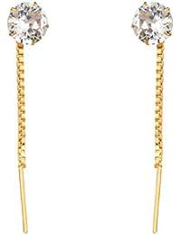 Cardinal American Diamond Needle Thread Sui Dhaga Earring For Women & Girls