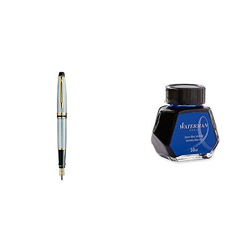 Waterman Expert 3 Penna Stilografica Stainless Steel Gold Trim, Finiture Cromate, Pennino Medio + Flacone Inchiostro Blue Lavabile