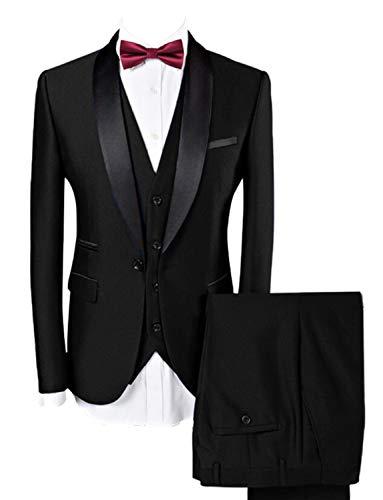 Lilis® Männer Anzug Hochzeit Anzüge Für Männer Schalkragen 3 Stücke Slim Fit Burgundy Anzug Herren Königsblau Smoking Jacke