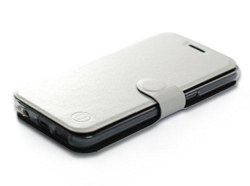 MOBIWEAR Book Style Handy Motiv Tasche Flip Case Cover Hülle für LG X Mach - White&Grey